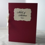 red wedding program, embossed red and ivory wedding program