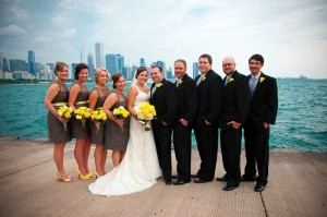 Chicage wedding with yellow and gray