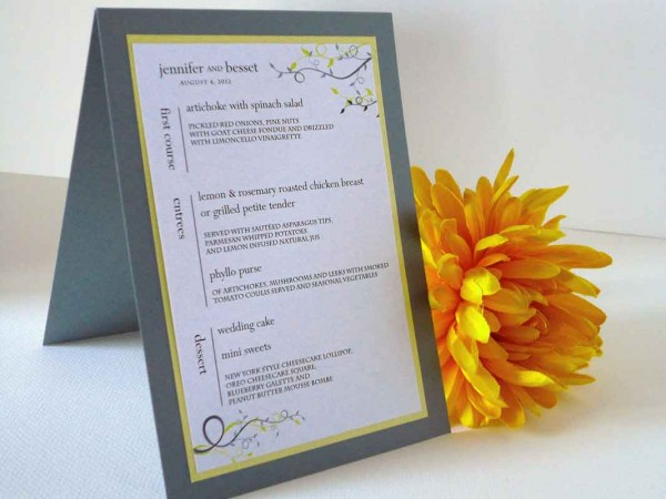yellow and gray wedding menus