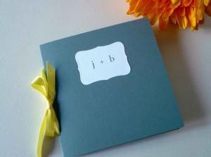 yellow and gray wedding program