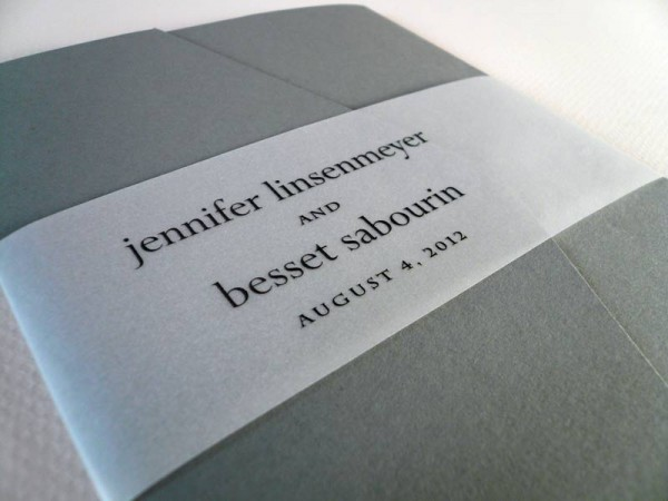gray pockeffold invitation with vellum wrap
