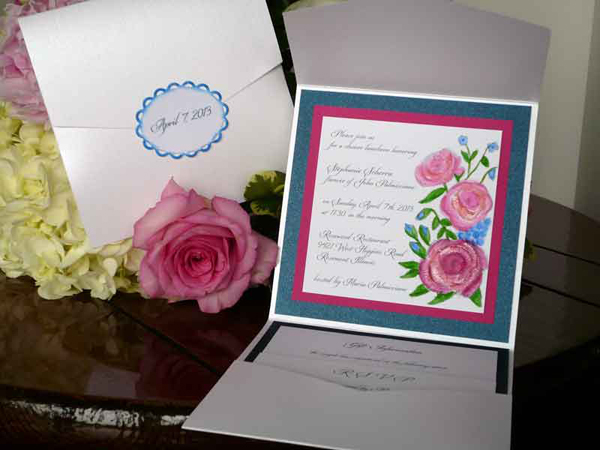 Blue and Pink Wedding Shower Invitation
