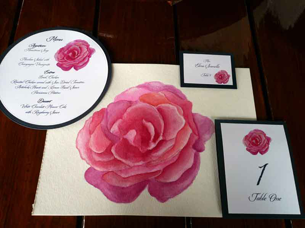 pink rose watercolor set