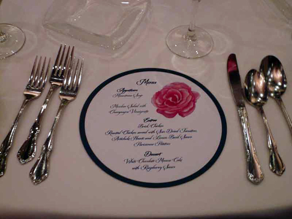 pink watercolor rose dinner circle menu