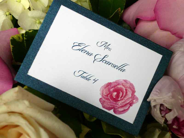 navy blue and pink place card