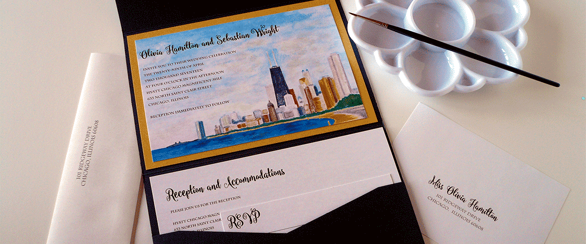 Chicago's Goldcoast Wedding Invitation