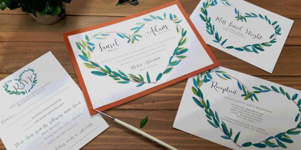 Laurel Heart Wreath Invitation