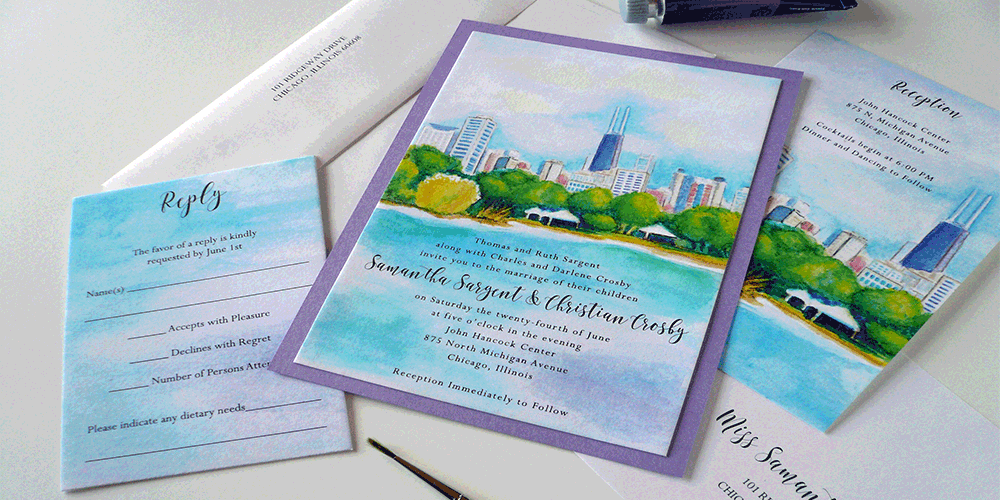 Chicago skyline watercolor invitation