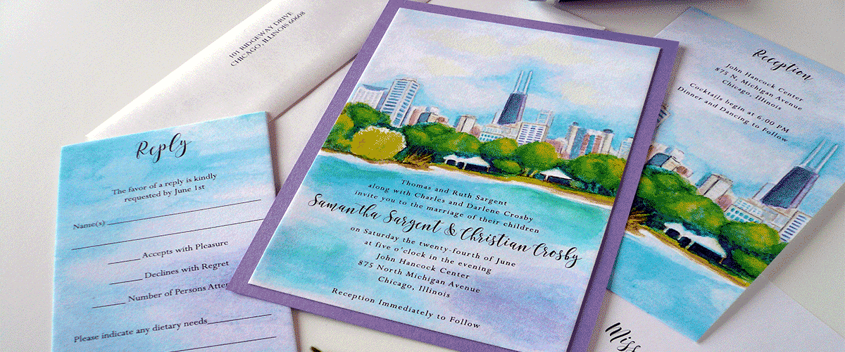 Chicago Watercolor Wedding Invitation