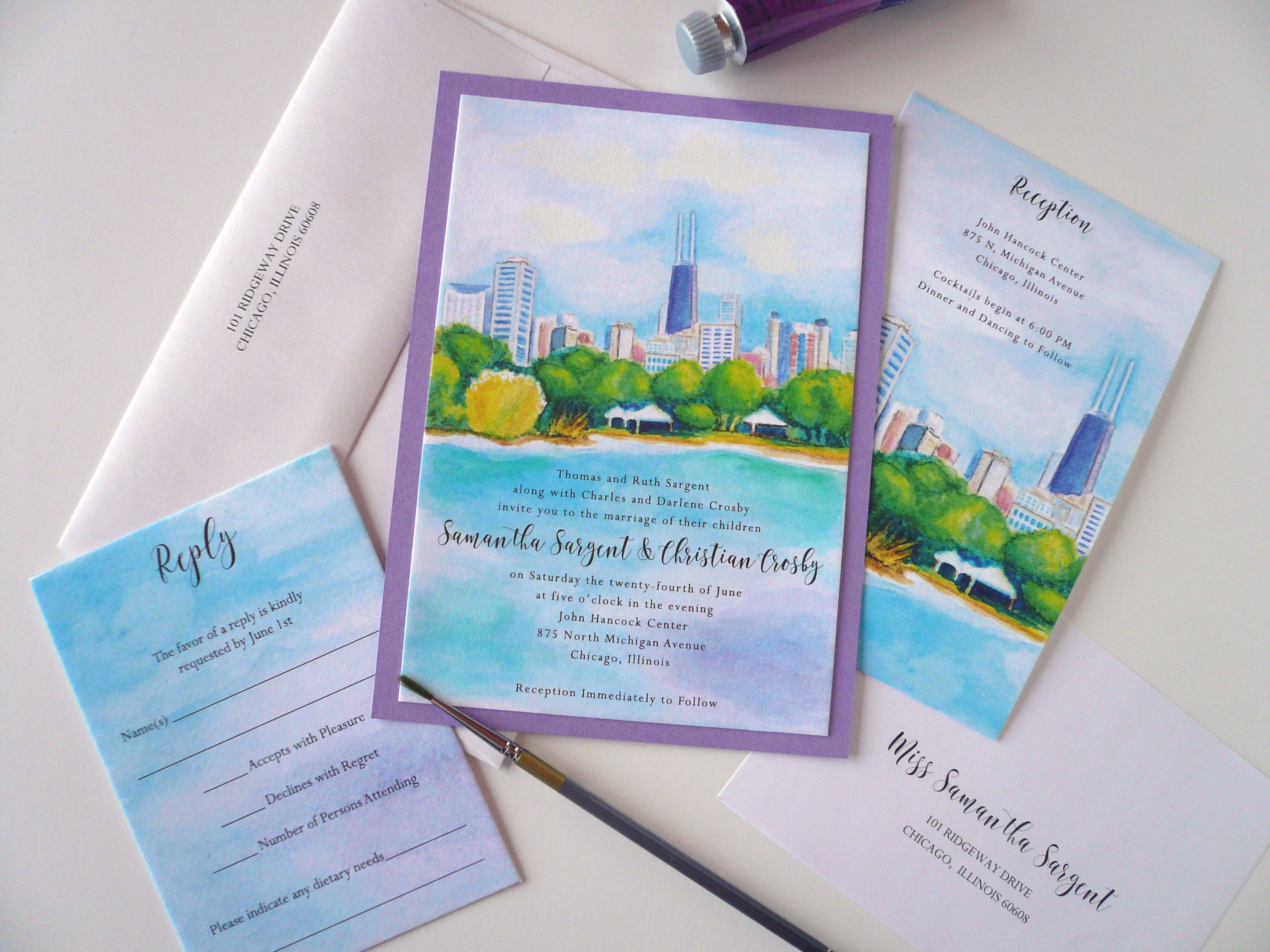 Chicago Skyline Watercolor Invitation Suite