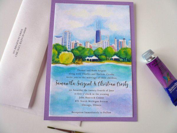 Chicago Skyline Watercolor Invitation