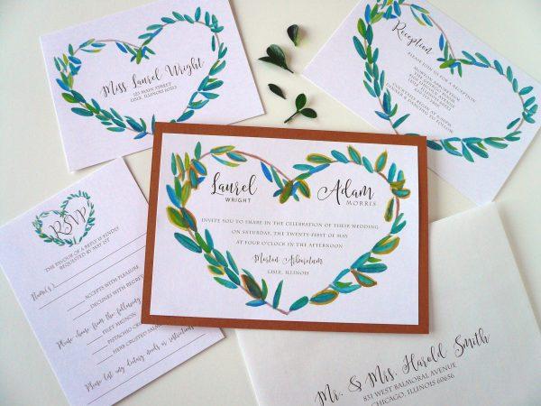 Laurel Heart Wreath Wedding Invitation Suite