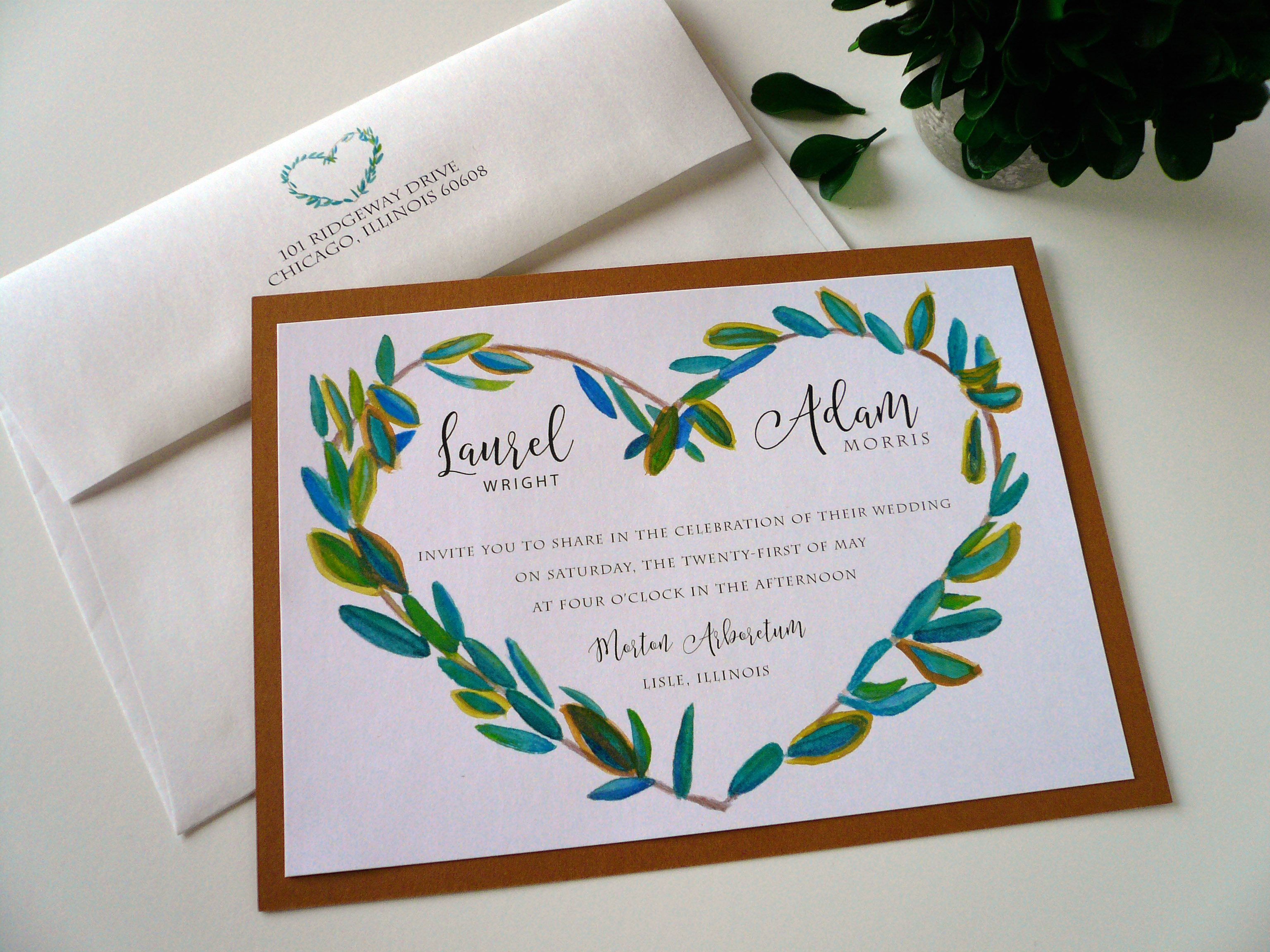 Laurel Heart Wreath Watercolor Invitation