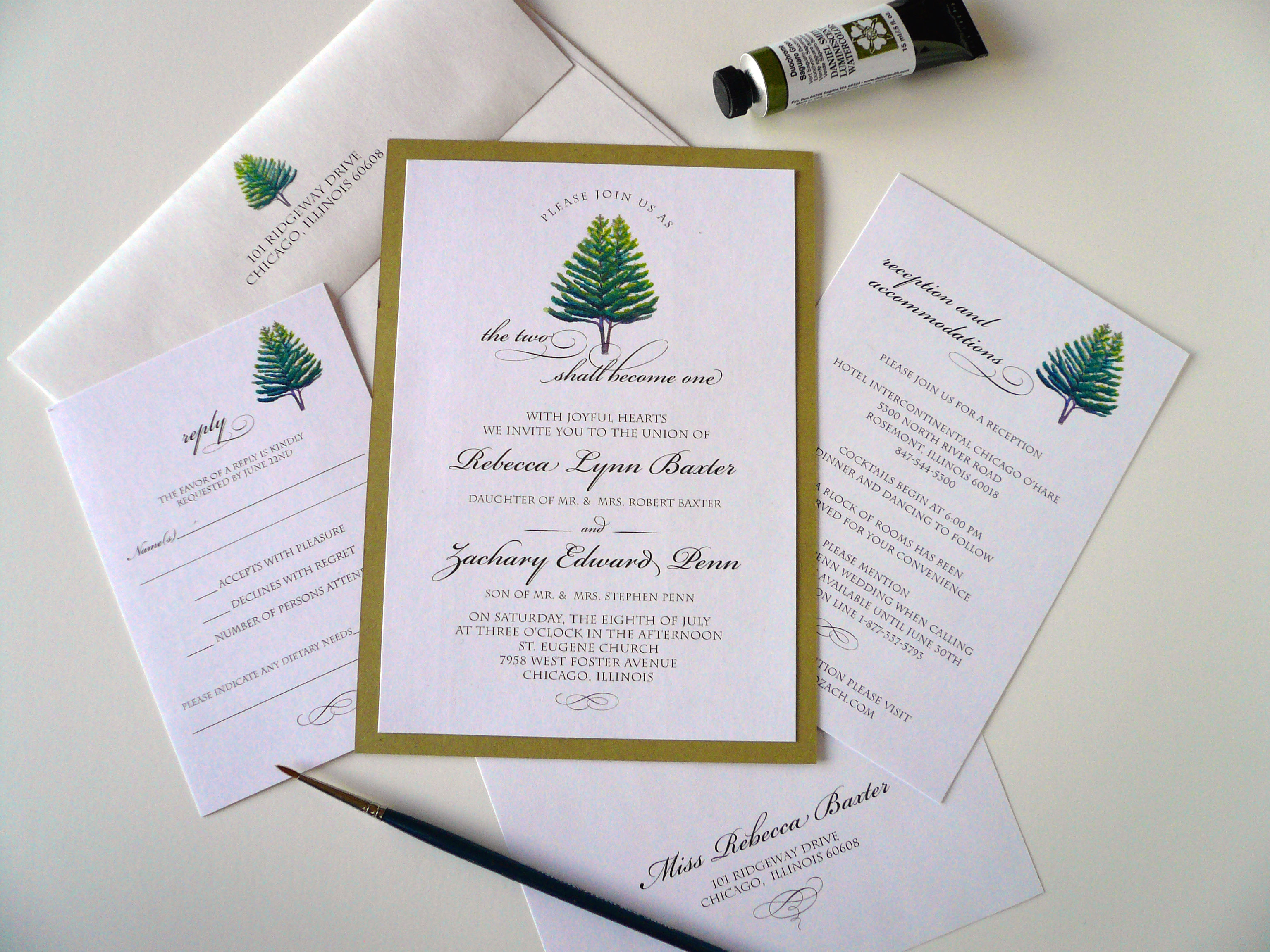 the two shall become one wedding invitation