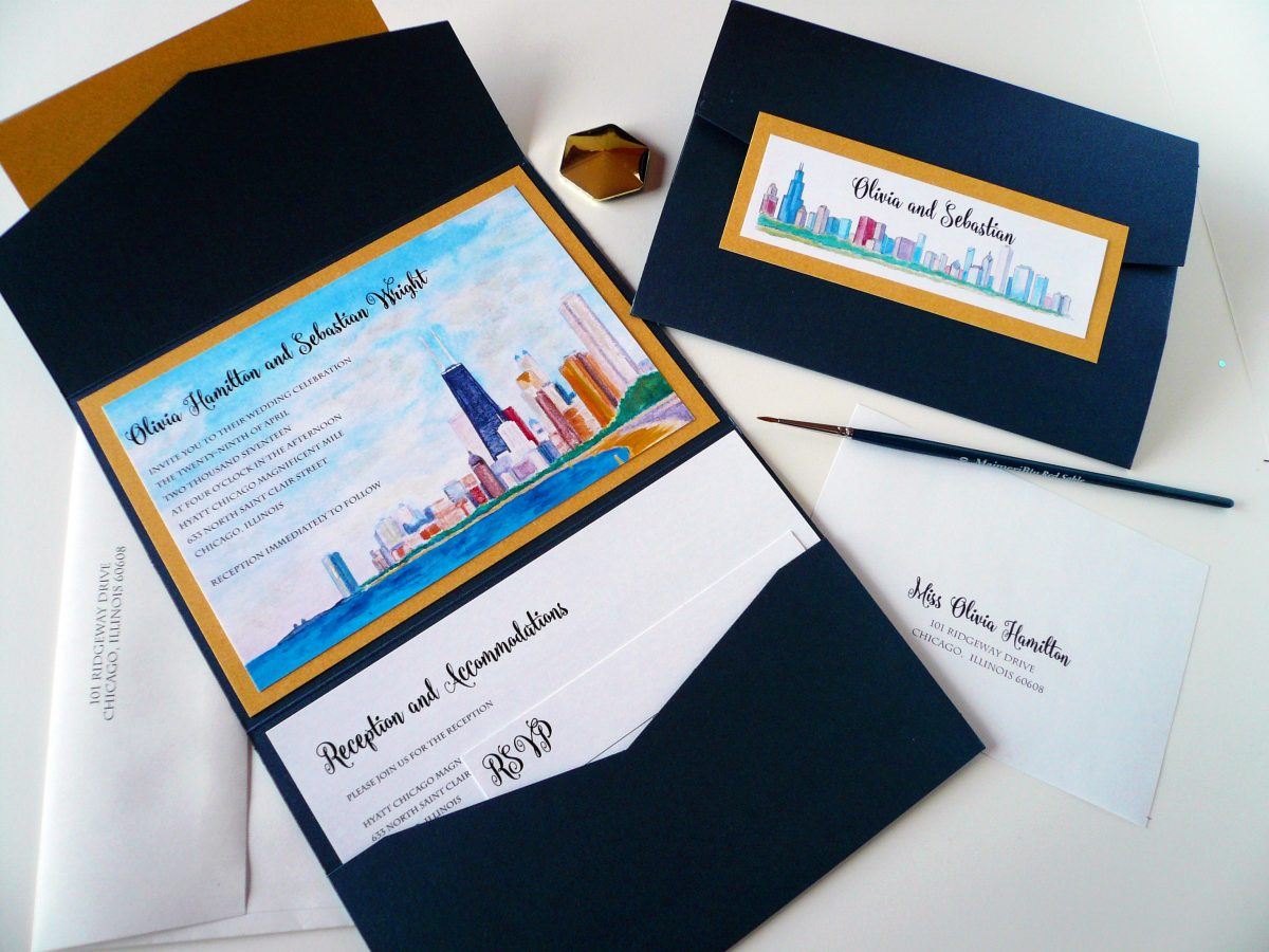 Chicago Themed Wedding Invitation