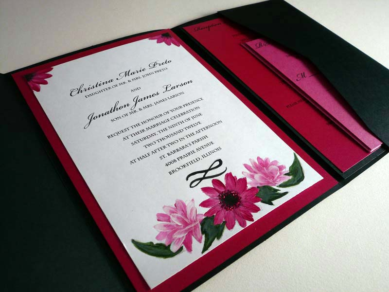 pink daisy and peonies invitation