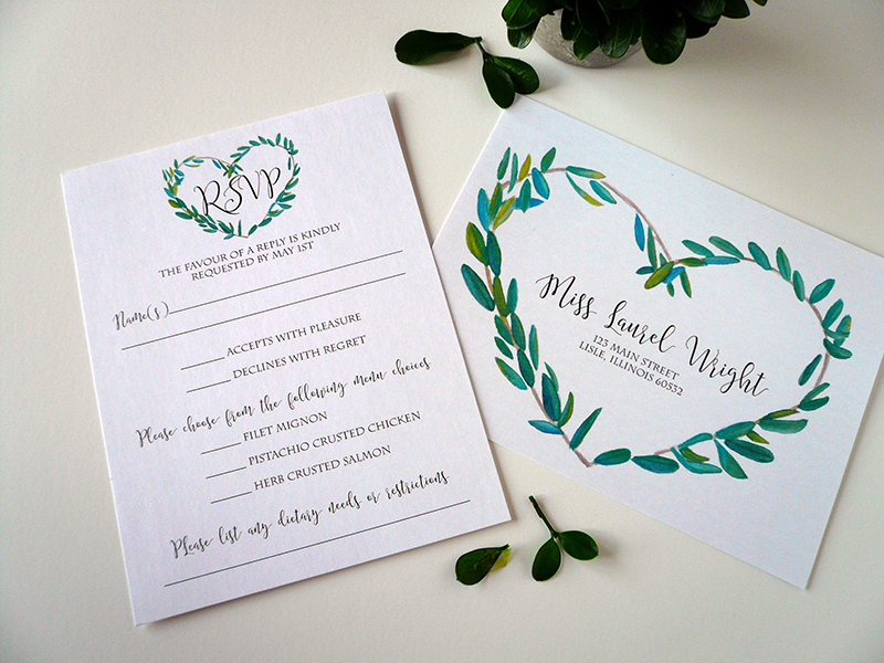 Laurel Wreath RSVP Postcard